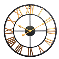 Homingdeco Wall Clock Quartz Modern Design Retro Iron Art Clock Three Dimensional Roman Numerals Silent Wall Clocks Home Decor