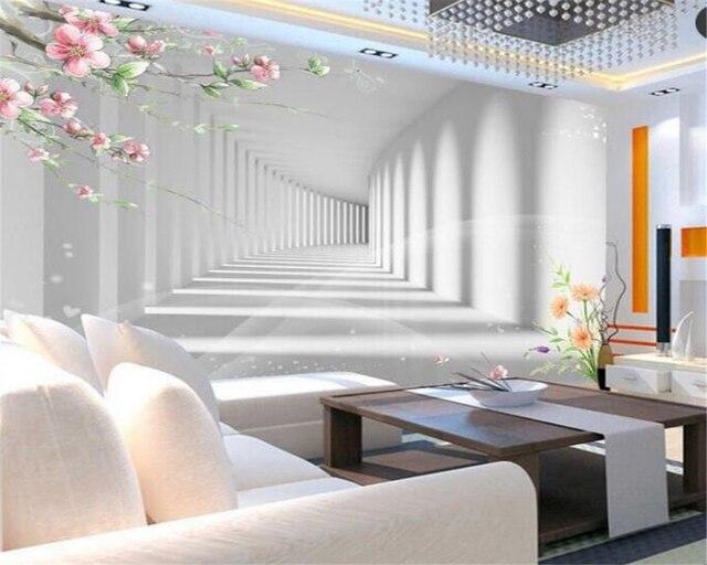 Beibehang 3d Kwiat Moda Promenadzie 3d Rozszerzenie Przestrzeń