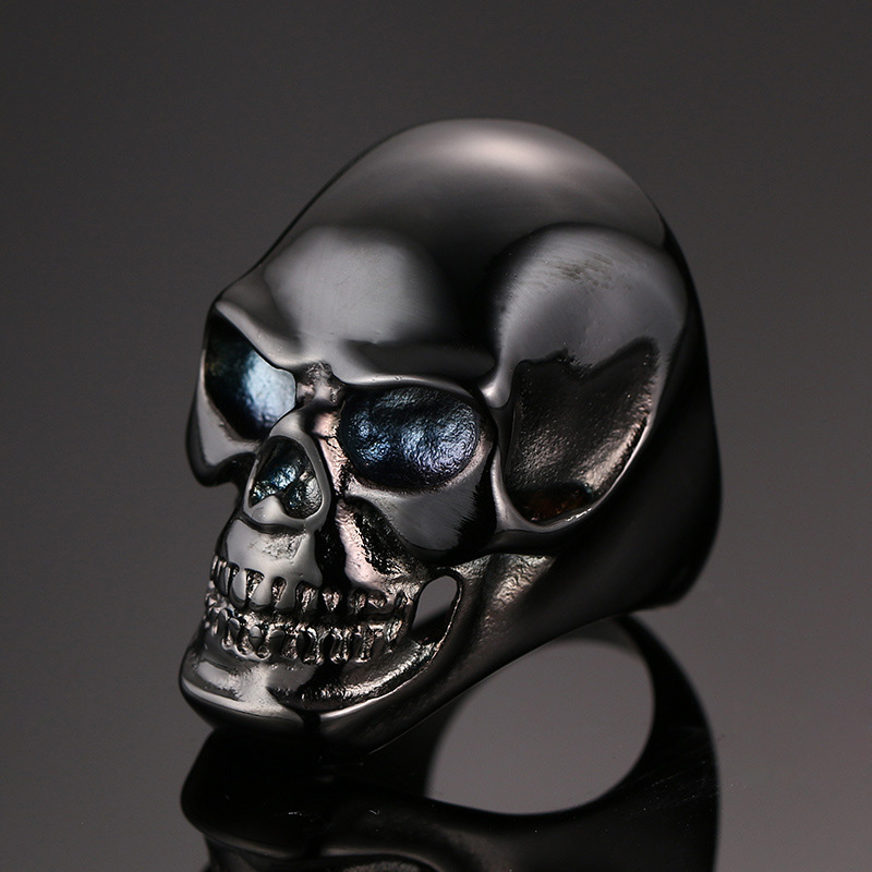 Nyaste kommande gotiska män Biker rostfritt stål ring mode svart / - Märkessmycken - Foto 4