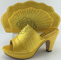 ME3329 Yellow 2016 New design platform high heel african italian shoes and matching bag for wedding