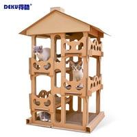 Кошки роскошный картонный дом 4 слоя большая вилла Mascotas скребок царапинам доска дерево для кота башня утолщение мебель