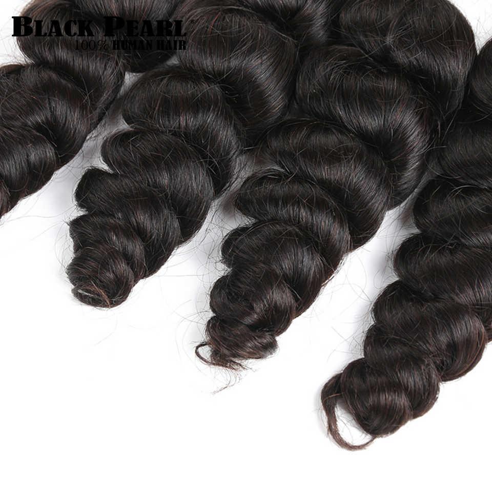 Черные жемчужные предварительно крашеные бразильские волосы пучки свободные волнистые человеческие волосы объемные 3 пучка Remy плетение волос удлинители косички волос