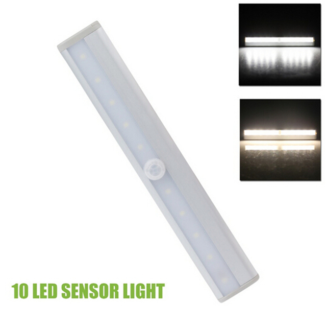 10 LED PIR Infrared Motion Detector Wireless Night Light Kitchen Wardrobe  Closet Cabinet Lamp Tube Bar