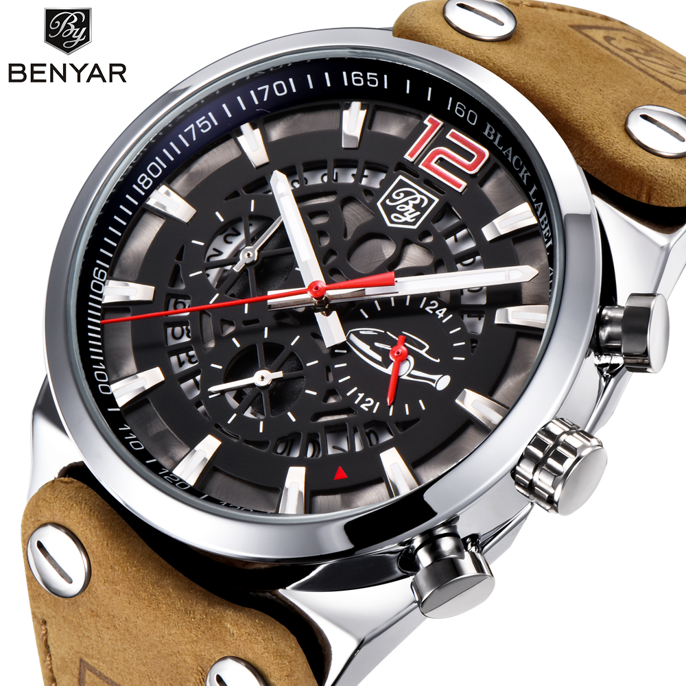 BENYAR Brand Men Watches Skeleton Military Chronograph Quartz Man Outdoor Big Dial Sport Watch Army Male Clock Relogio Masculino