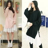 5xl plus big size sweatshirts women spring autumn winter 2017 false two piece pink black stitch casual fleece dress female Y0327
