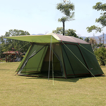 Send 1pair front poles!Ultralarge high quality one hall one bedroom 5-8 person double layer 200cm height waterproof camping tent