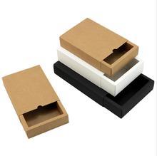 10pcs/lot Drawer Paper Box Black Cardboard Packaging White Candy Gift Large Storage Packing Boxes