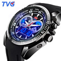 TVG Top Brand Luxury Sports Watches Men Blue LCD Monitor Analog Digital Quartz Watches Men 100M Waterproof Dive Silicone Watch