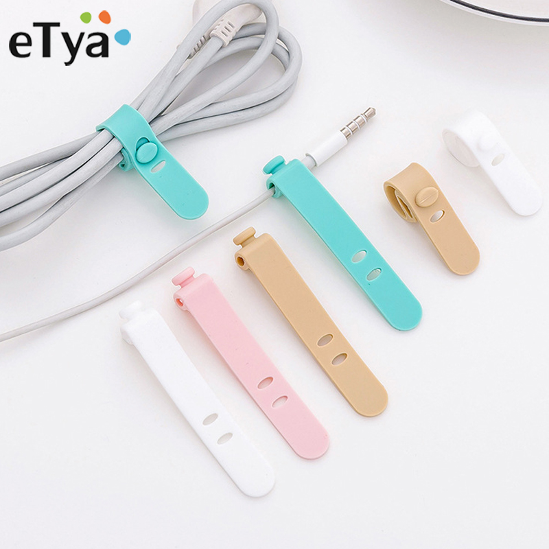 ETya Silica Gel Earphone Cable Line Protector USB Phone Line Holder Packing Organizers Men Women Portable Travel Accessories