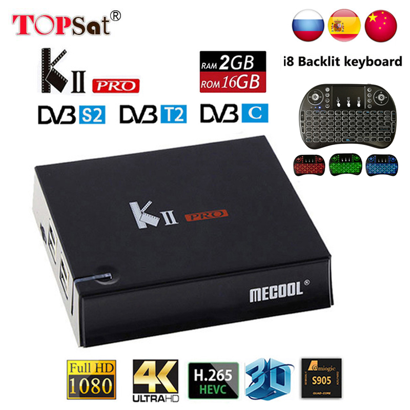 MECOOL KII Pro Android TV Box Android 7.1 DVB T2 DVB S2 Amlogic S905D Quad-core 4K Media player support CCCAM NEWCAMD IPTV BT4.0