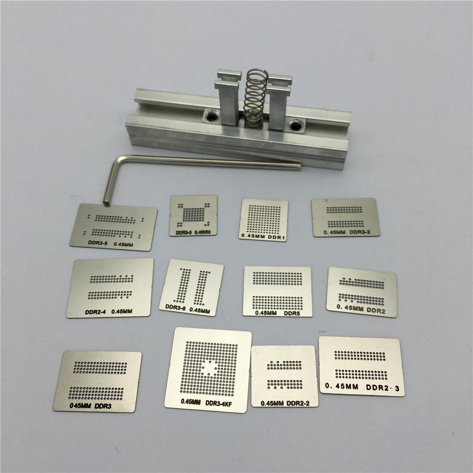 12pcs BGA Directly Heat Rework Reballing Universal Stencil Template + BGA Reballing Kit Station(China)