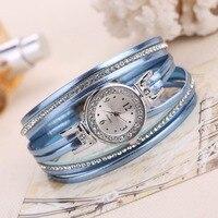 2018 High Quality Women Fashion Silver Dress Crystal Bracelet Wristwatches Luxury Thin PU Leather Vintage Quartz