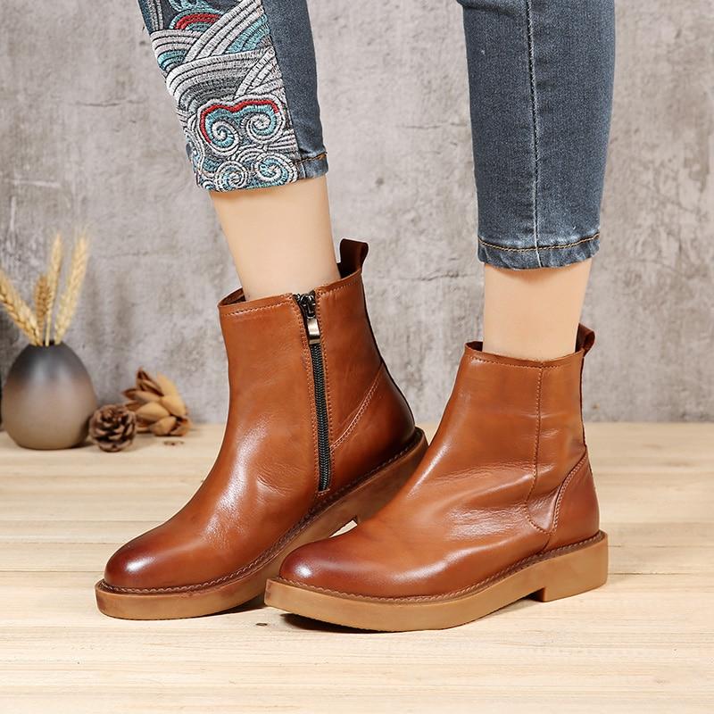 발 루 2019 가을 신발 여성용 부츠 라운드 투 발꿈치 플랫 여성용 진짜 가죽 발목 부츠