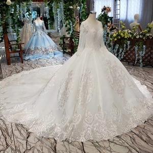 Image 3 - LS53710G lüks gelinlik uzun kollu o boyun aç geri balo elbisesi gelin giydirme abiye 2019 promosyon vestido de noiva