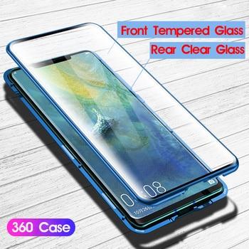 4db00a06546 Funda protectora transparente de cuerpo completo 360 para Huawei P30 Pro  carcasa magnética de Metal de aluminio cubierta de imán de parachoques Huawei  P30 ...