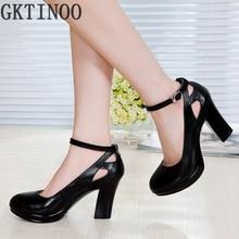 Véritable cuir femmes chaussures de haute talons femelle sangle OL confortable noir travail chaussures pompes