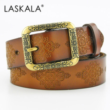 2016 new vintage Genuine split leather belt for women girl metal carved buckle female strap all-match jeans good quality strap
