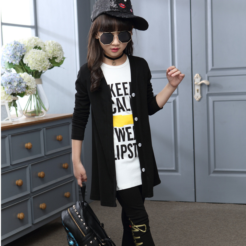 3pcs Children Girls Clothing Sets Autumn Teenage Girls Sport Suit School Kids Clothes Tracksuit Long Coat Leggings Girls Clothes цены онлайн