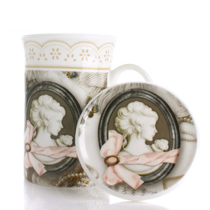 Europe Style Retro Mug with cover Bone China Mug Home Ceramic Water Mug Office Protable Tea Mug with Tea leaks Free Shipping
