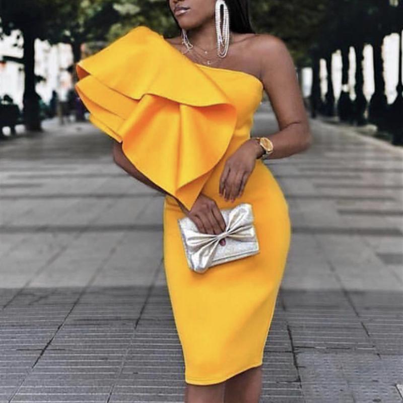 Для женщин Желтый Вечерние платье на одно плечо оборка, пикантные на обеденном свидании; вечерняя Клубная одежда Тонкий облегающий силуэт ...