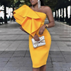 Yellow Party One Shoulder Ruffles Dress