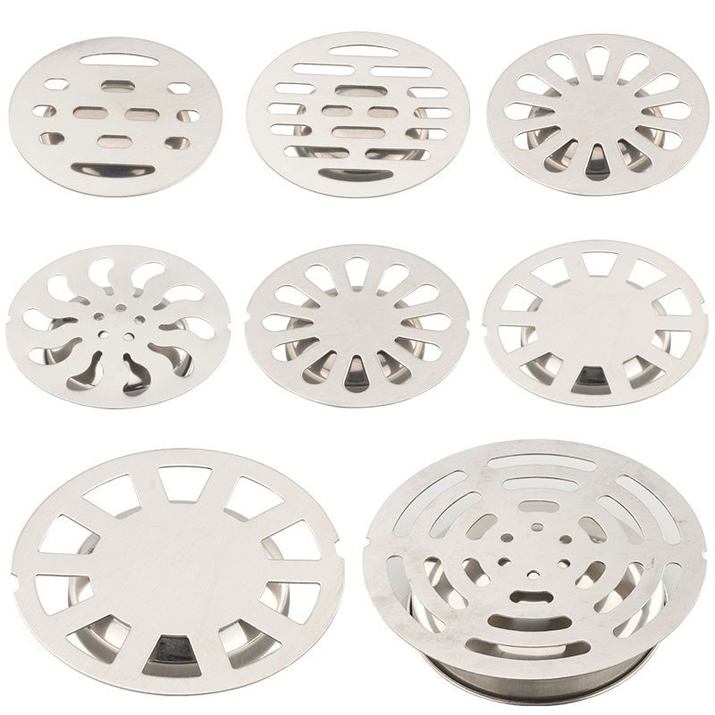 Stainless Steel Floor Drain Cover Overflow Round Anti-clogging Shower Drain Hair Catcher For Bathroom Wash Machine Toilet Sewer