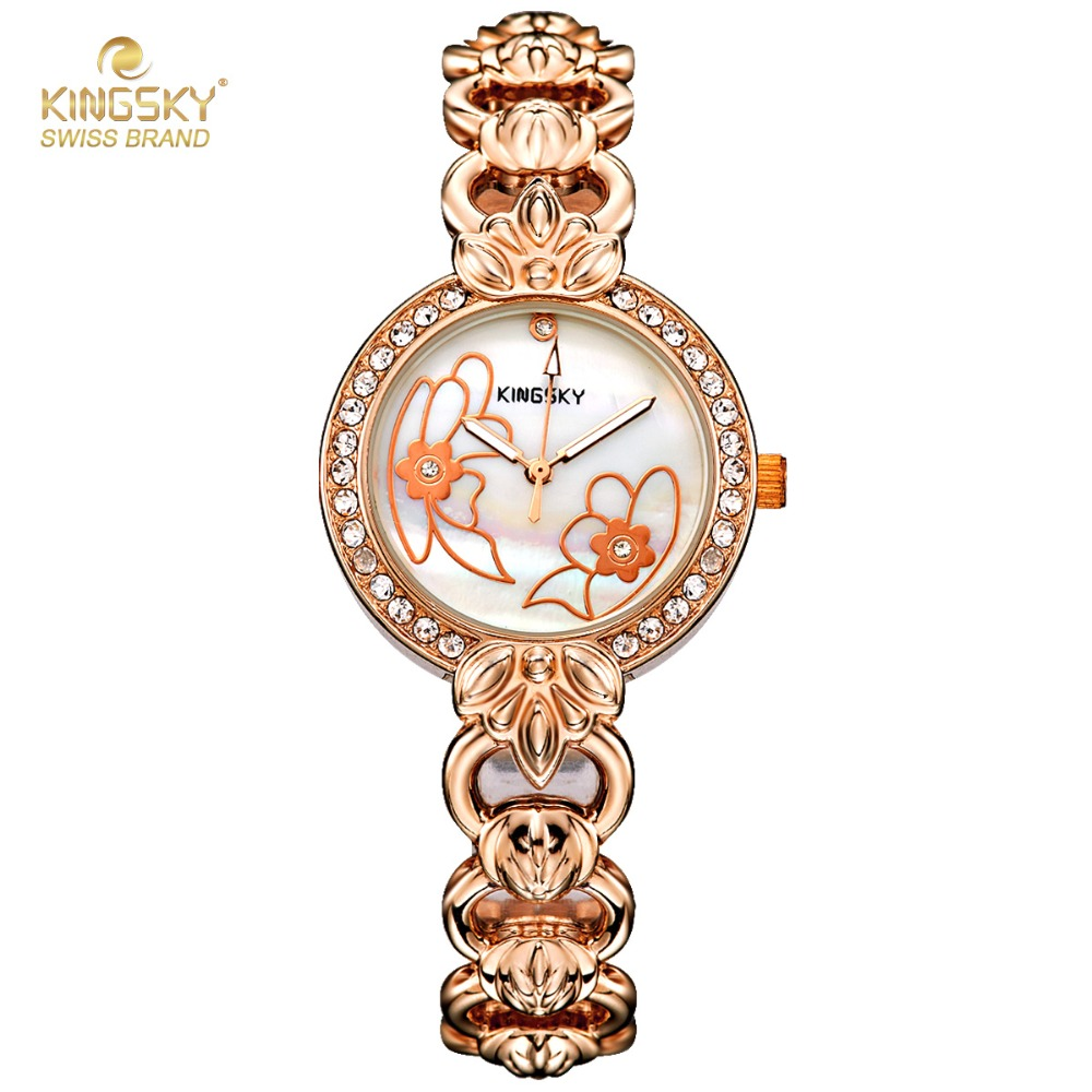 NEW Rose Gold Watch Women Kingsky Top Brand Luxury Crystal Rhinestone Quartz-watch Fashion Ladies Watches Female Clock Hodinky fashion rose gold retro watches women top luxury brand ladies quartz watch famous watch new clock relogio feminino hodinky xfcs