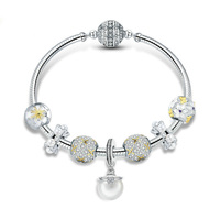 2019 белый цветок ромашки ослепительный фианит кулон кулоны браслеты сделай сам для женщин оригинальный серебряные бусины 925 пробы для изгот