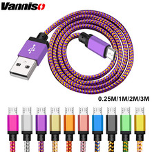 Vanniso 1m 2m 3m Micro USB Cable Nylon Braided Data For LG Huawei Xiaomi Samsung  Android mobile Phone Charging