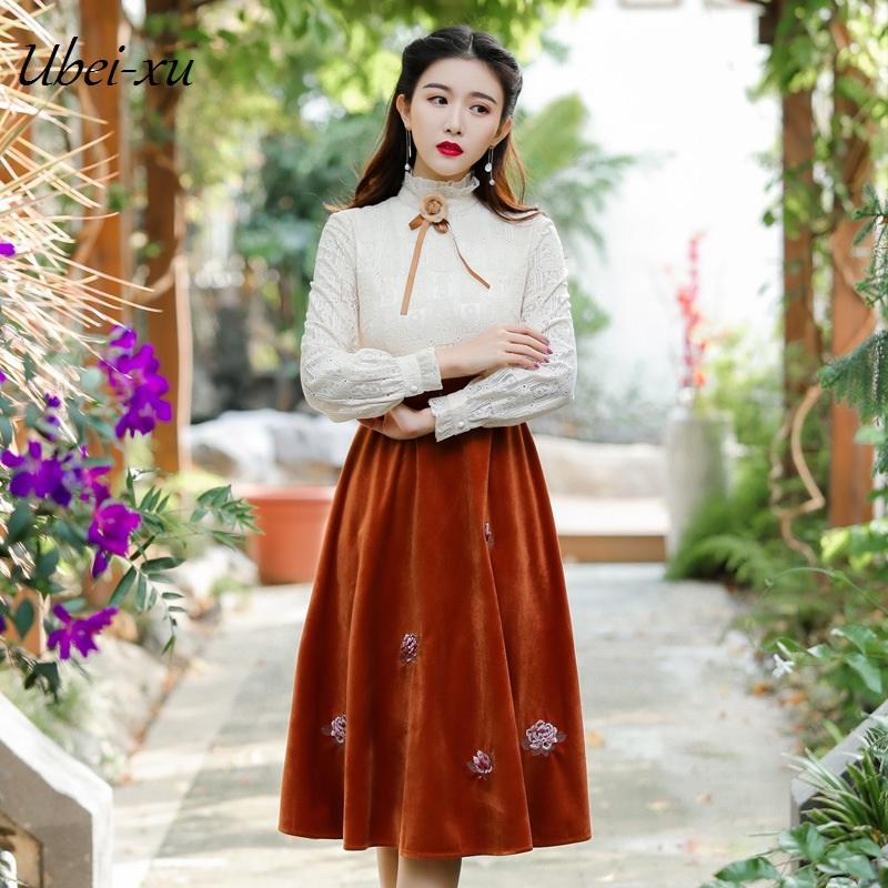 Ubei New dress classic lace+velvet DRESS embroidery long-sleeved vintage patchwork lace high quality