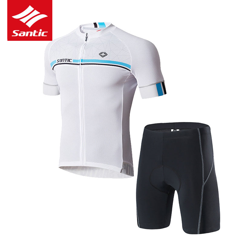 Santic Cycling Set Mens Pro Team Cycling Jersey Set Summer Breathable Quick-dry Bike Bicycle Clothing Set Maillot Ciclismo S-3XL racmmer cycling gloves guantes ciclismo non slip breathable mens
