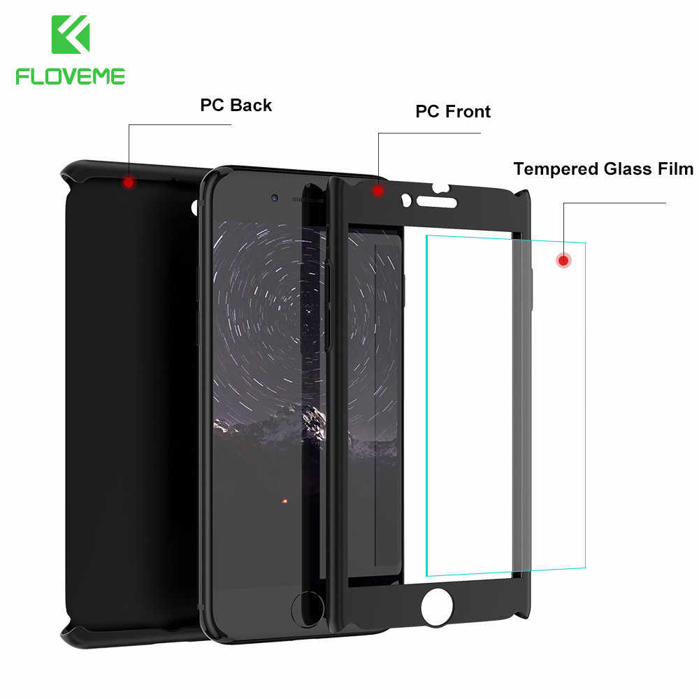 Floveme 360 Case Pelindung untuk iPhone XR X XS Max 7 6 6S Plus 11 Kasus Kaca Tempered PENUTUP UNTUK iPhone 11 Pro Max 5 5S SE 10