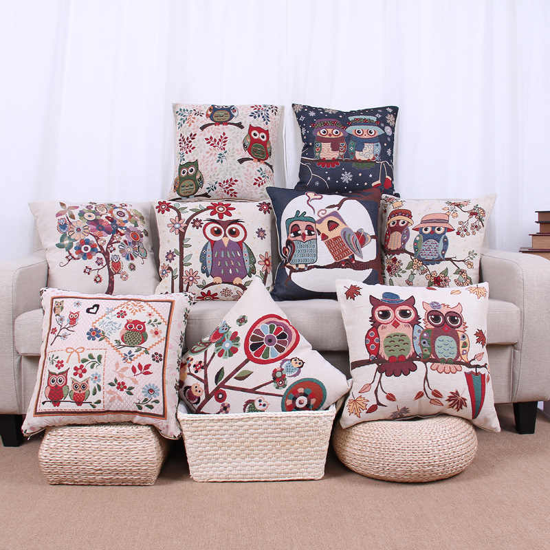 18'' Hot Sale Cotton Linen Owl Bird Throw Pillow Case OW172