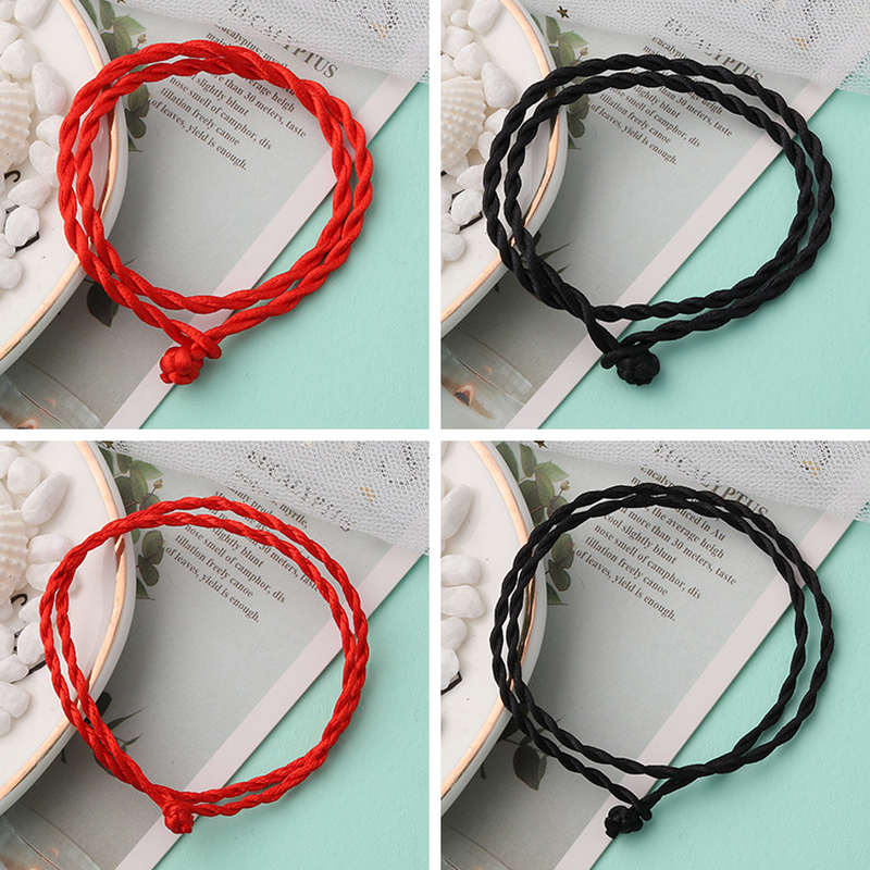 2019 DIY Red Black Hand Woven Rope Collar Hanging Bracelet Anklet Necklace Pendant Simple Diy Hand Rope Jewelry Lanyard 39 52cm