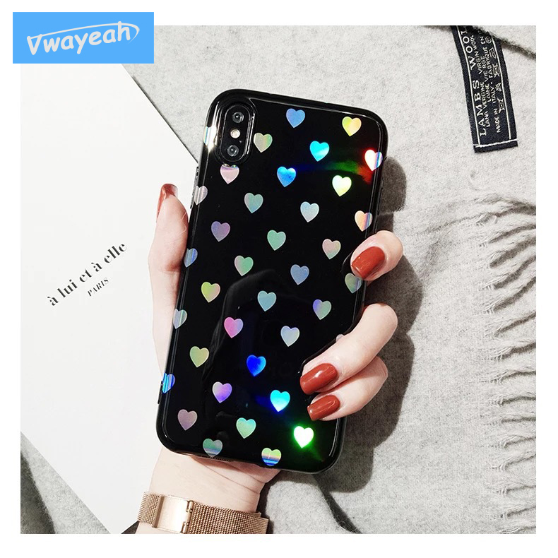 Ins Gradient Little Love Heart Hot Blue Light For iPhone x 10 6 6S 7 8 Plus Mirror Laser ...