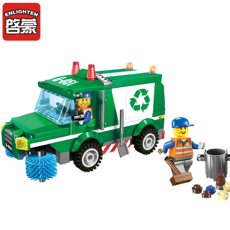 1111 ENLIGHTEN City Sanitation Garbage Truck Building Blocks Classic DIY Action Figure Toys For Children Compatible Legoe 2017 enlighten city series garbage truck car building block sets bricks toys gift for children compatible with lepin