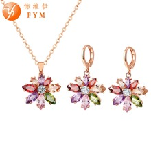 New Multicolor Flower CZ Wedding Jewelry Set for Women Rose Gold Color Link Chain Slide Pendant Earrings Necklace Jewelry Sets new multicolor flower cz wedding jewelry set for women rose gold color link chain slide pendant earrings necklace jewelry sets