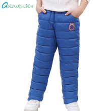 Grandwish Children Warm Parkas Pants Autumn Patches Trousers for Boys Girls Print Full Length Winter Pants for Kids 4T-12T,TC126