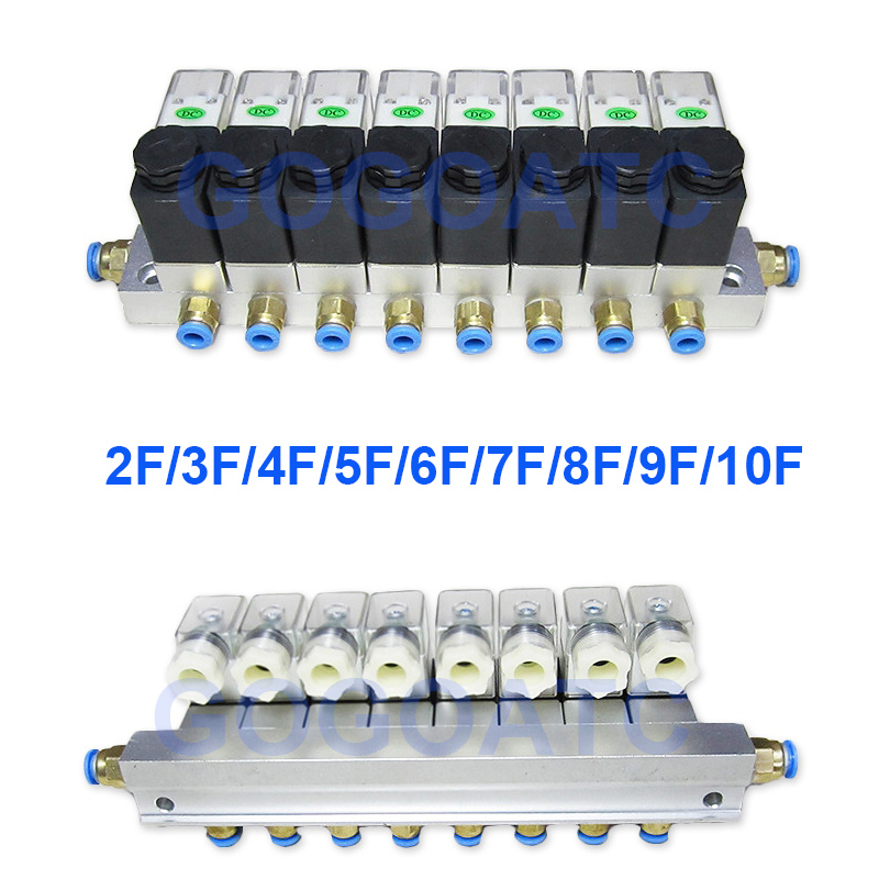 2 Way Valve 6W Pneumatic Aluminium Solenoid Valve Sets 2V025-06/08 Port 1/8 1/4 BSP Pushfit Fittings 6mm Electric Valve Manifold