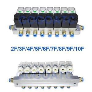 Image 1 - 2 דרך שסתום 6 W פנאומטי אלומיניום סולנואיד שסתום סטי 2V025 06/08 נמל 1/8 1/4 BSP pushfit אבזרי 6mm חשמלי שסתום סעפת