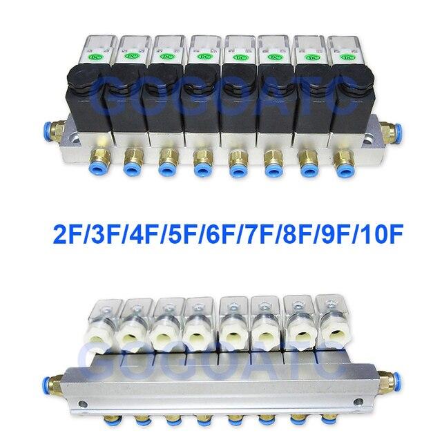 2 דרך שסתום 6 W פנאומטי אלומיניום סולנואיד שסתום סטי 2V025 06/08 נמל 1/8 1/4 BSP pushfit אבזרי 6mm חשמלי שסתום סעפת