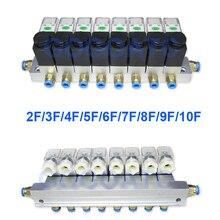 2 웨이 밸브 6 w 공압 알루미늄 솔레노이드 밸브 세트 2v025 06/08 포트 1/8 1/4 bsp pushfit 피팅 6mm 전기 밸브 매니 폴드