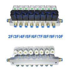 2 válvula de solenóide de alumínio pneumática da maneira 6 w ajusta a válvula 2v025 06/08 porto 1/8 1/4 bsp pushfit encaixes 6mm válvula elétrica distribuidor
