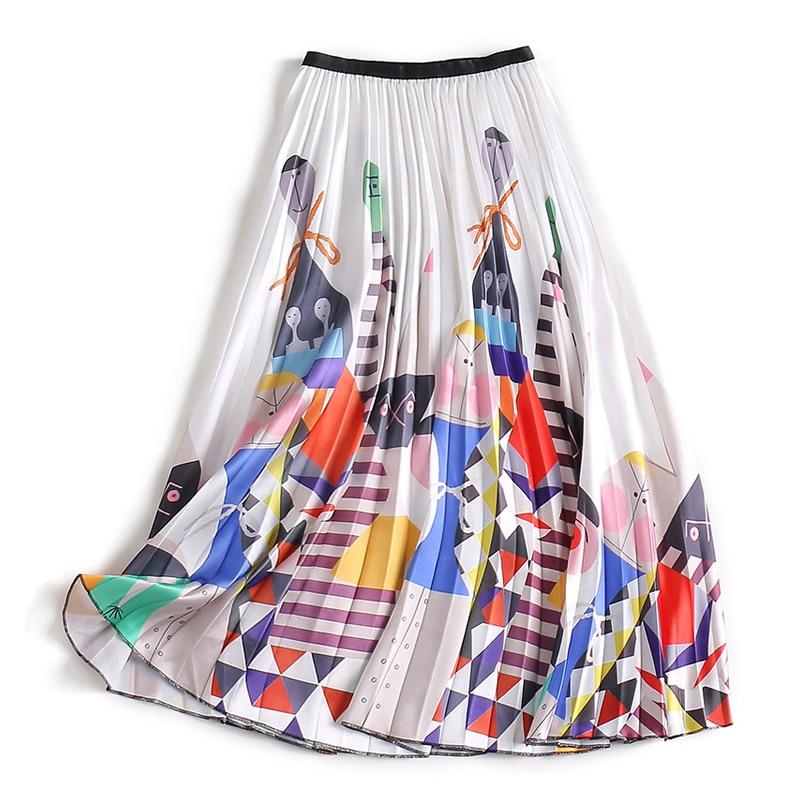 2019 Unique Designer Women Eleagnt Cute Cartoon Printing Skirt Elastic Waist Casual Designer Quality Pleated Skirts