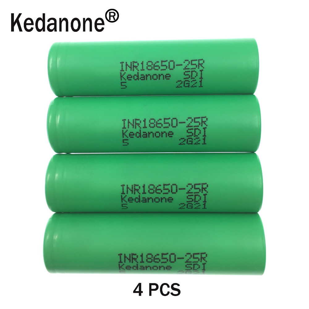 2018 4 unids Kedanone for original <font><b>samsung</b></font> <font><b>18650</b></font> lithium battery <font><b>25r</b></font> inr1865025r 20a, 2500 mah battery for electronic cigarette image