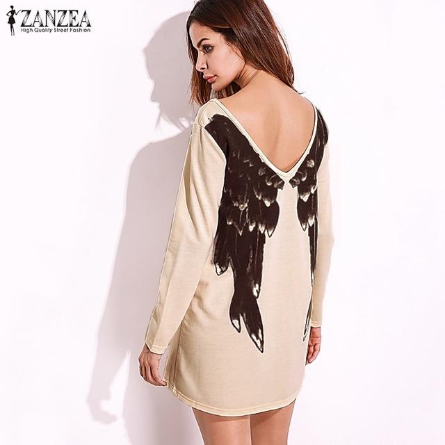 10094262c4 ZANZEA 2018 Sexy Women Vestidos Front Back Wings Print Dress Long Sleeve  Deep V Neck Casual Pullovers Dresses Oversized