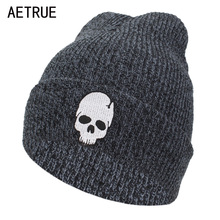 AETRUE Winter Skullies Beanies Knitted Hat Men Winter Hats For Women Fashion Bonnet Soft Mask Skull Cheap Gorros Beanie Hats Cap