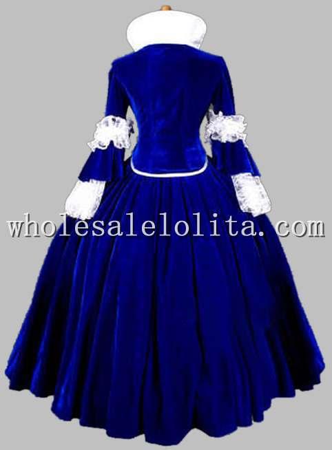 Роскошная Готическая голубая и Черная Королева Возрождения костюм/карнавальный тематический костюм