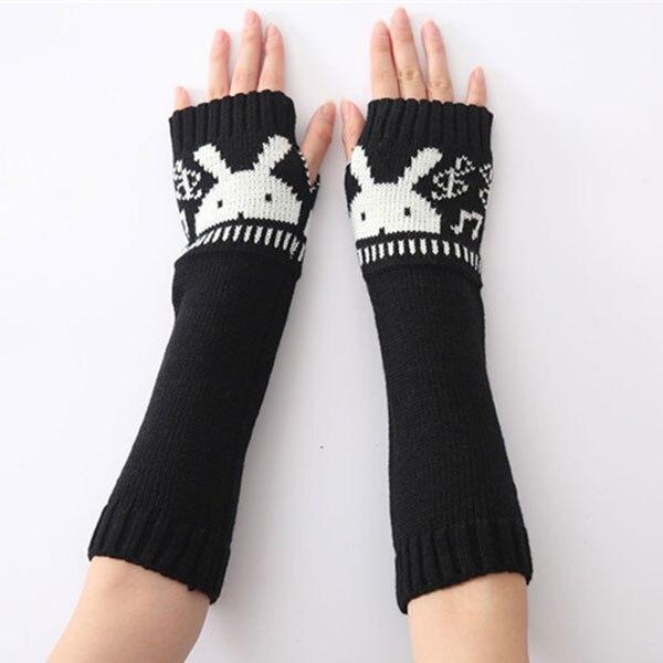 HOT 1pair Women Girls Winter Fall Long Soft Knit Crochet Arm Leg Fingerless  Warmer With Rabbit Pattern   19ING