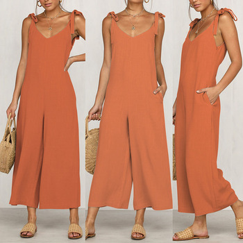 Sexy Solid Backless jumpsuits women V neck spaghetti strap long overalls Summer beach loose female jumpsuit 2019 5